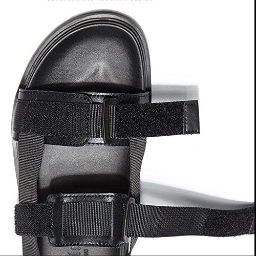 MAZHONG Zapatillas Sandalias Sandalias de los hombres de verano Sandalias casuales Sandalias Zapatillas de velcro Zapatos de los hombres ( Color : Black-EU40/UK7/CN41 ) Black-eu41/Uk7.5-8/Cn42