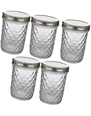 YARNOW 5Pcs Glass Jars With Lids| 350ml Mason Jar, Crystal Glass Canning Jars Ideal for Food Storage, Jam, Body Butters, Jelly, Wedding Favors, Baby Foods