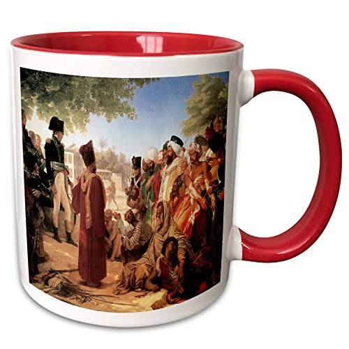 (3dRose BLN Middle Eastern and Northern African Fine Art Collection - Bonaparte Pardoning the Insurgents in Cario by Pierre Nacrisse Guerin - 15oz Two-Tone Red Mug (mug_127445_10))