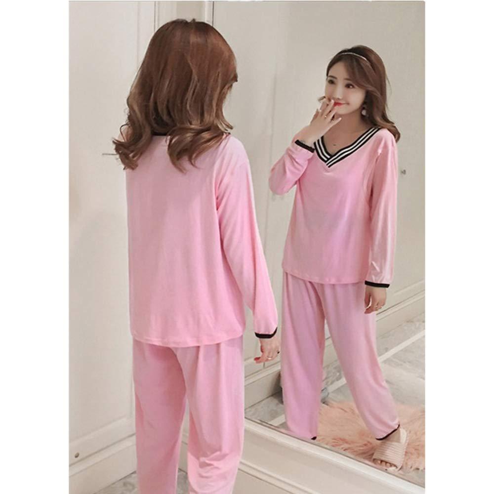 b2252cf72 BOZEVON Mujeres Pijama de Lactancia Invierno Ropa - Un Juego de Camisas de Algodón  con Cuello en V Sueltas Tops + Pantalones Pijamas de Lactancia para ...