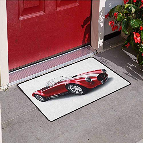 (GloriaJohnson Cars Inlet Outdoor Door mat Old-Fashioned Vintage Coupe Car Automobile Illustration with Digital Smooth Color Effects Catch dust Snow and mud W15.7 x L23.6 Inch)