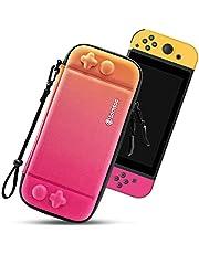 tomtoc bärväska för Nintendo Switch, ultratunnt hårt skal med 10 spelkassetter, skyddsfodral för resor, med originalpatent- och militärskydd, vriden orange