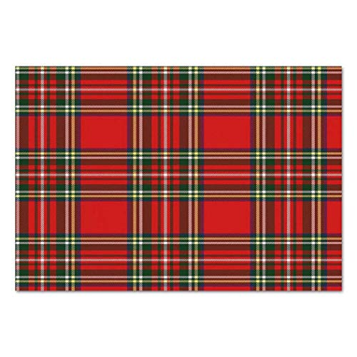 (VAMIX Sticker [ Red Plaid,European Western Culture Inspired Abstract Tartan Motif Vintage Classical Design Decorative,Multicolor ] Self-Adhesive Vinyl Wallpaper/Removable Modern)