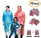 CLEYCYE Rain Ponchos, (10pack) Disposable Emergency Rain Poncho Family Pack 5pcs Adult Poncho with Hood and 5pcs Kids Poncho, Lightweight for Picnic Camping School Park Hiking Sport Outdoor Activities