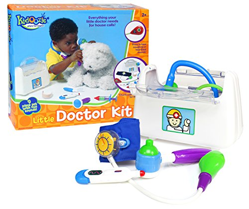 Kidoozie Little Doctor Kit – Includes Stethoscope, Blood Pressure Gauge, Reflex Hammer, Thermometer, Squeaking Syringe, Auriscope, Laryngoscope, Pretend Bandage, and Bag – Ages 24 Months And Up