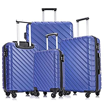 Image of Luggage Apelila Carry On Luggage Sets,Travel Suitcase Spinner Hardshell Lightweight w/Covers and Hangers (Blue, 4 Piece -18, 20,24,28 inchs)