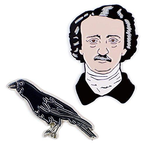 (The Unemployed Philosophers Guild Poe and Raven Enamel Pin Set - 2 Unique Colored Metal Lapel Pins)