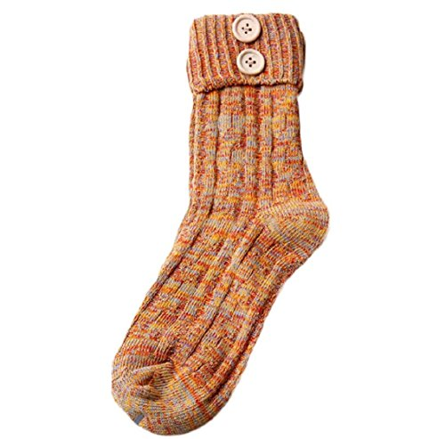 socken damen Kolylong® Frauen gestrickte Kaschmir Retro Socken Gelb 9ezLmm
