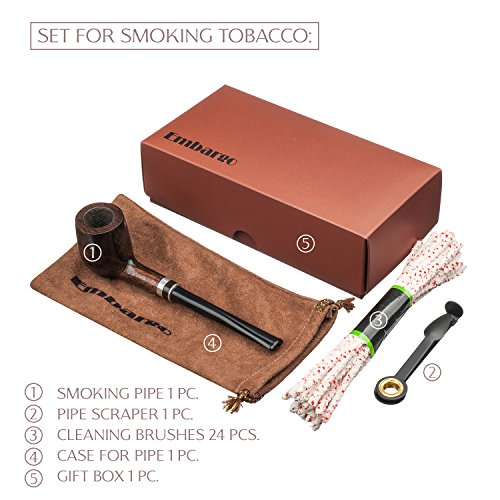 Smoking Pipe Set - Best Gift For a Real Man. Full Set For Smoking! Pipe Material - Carpathian Beech, Tube With Cooler. All Pipe Smoking Accessories (Full Kit Vip)