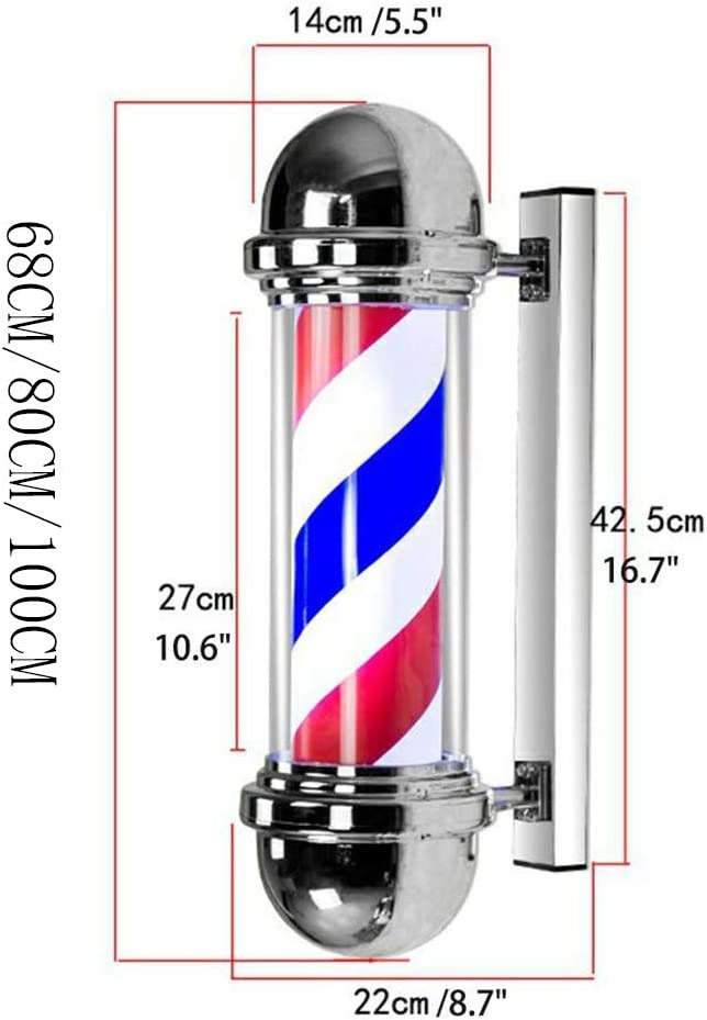 DSFX Barbershop Pole Barber Shop Pole Rotating Size : 68CM Illuminated for Hairdressing Salon Sign,Spinning Red White Blue Stripes Light Led Lamp Wall Mountable