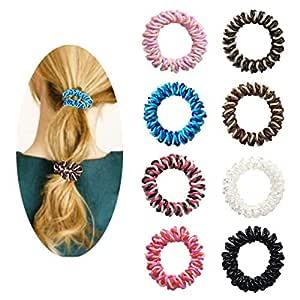 dsa 9PCS Elastic Spiral Coil Hair Ties Ponytail Holders Phone Rope Hair Rope