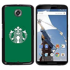 TopCaseStore / la caja del caucho duro de la cubierta de protección de la piel - Coffee Shop Green Brand - Motorola NEXUS 6 / X / Moto X Pro