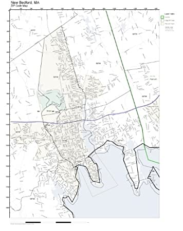 Amazoncom ZIP Code Wall Map of New Bedford MA ZIP Code Map