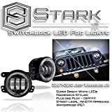 Stark 30W CREE 4'' Inch LED Fog Light w/Halo Angel Eyes Lights Jeep Wrangler JK 07-17 - Switchback Halo