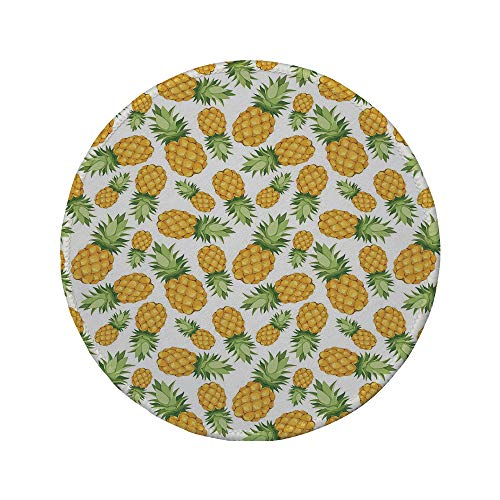 Non-Slip Rubber Round Mouse Pad,Yellow and White,Pineapples Tropical Climate Fruits Sweet Ripe Juicy Food,Earth Yellow Green White,7.87