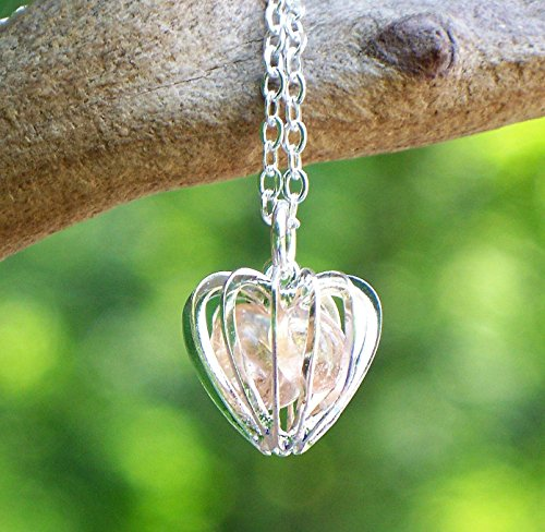 Recycled Antique Pink Depression Glass Heart Cage Necklace