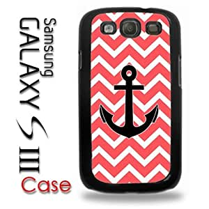 Samsung Galaxy S3 Plastic Case - Chevron Pattern Print Red White Anchor Nautical hjbrhga1544