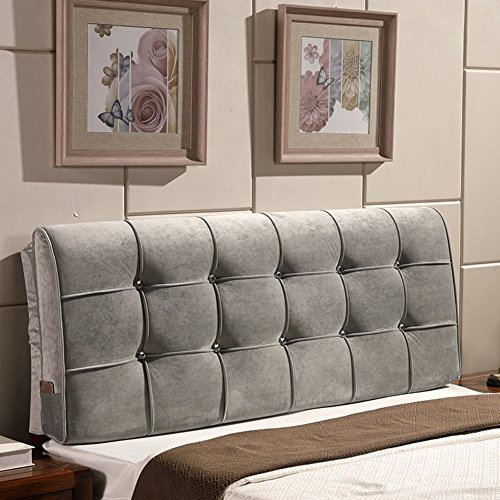 YXCSELL Large Upholstered Headboard Filled Triangular Soft Wedge Cushion Backrest Positioning Support Reading Pillow Lumbar Pad for Sofa Bed with Removable Cover Gray 47 Inches by YXCSELL