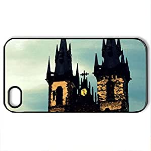 Prague - Case Cover for iPhone 4 and 4s (Watercolor style, Black)