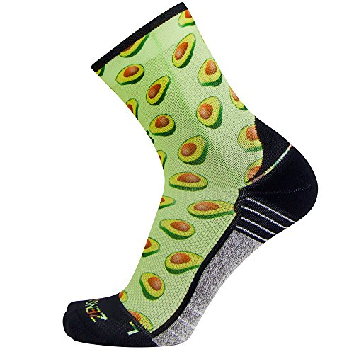 Zensah Limited Edition Running Socks - Anti-Blister Comfortable Mini-Crew Sport Socks, Moisture Wicking (Small, Avocados-Lime Green)