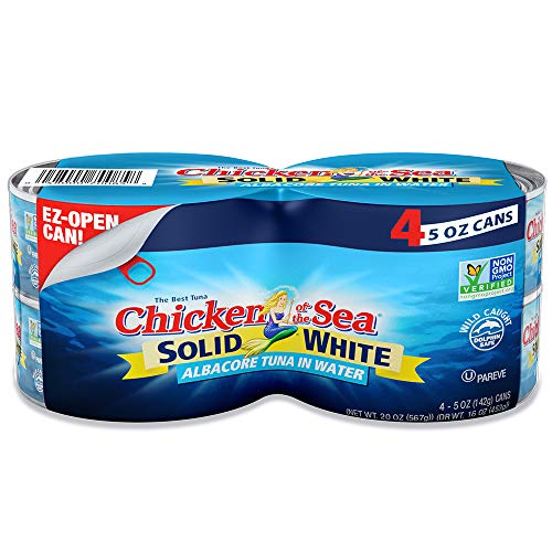 Chicken of the Sea White Albacore Tuna in Water, Solid, 5 Ounce Cans (Pack of 4) (Fish Dinner)