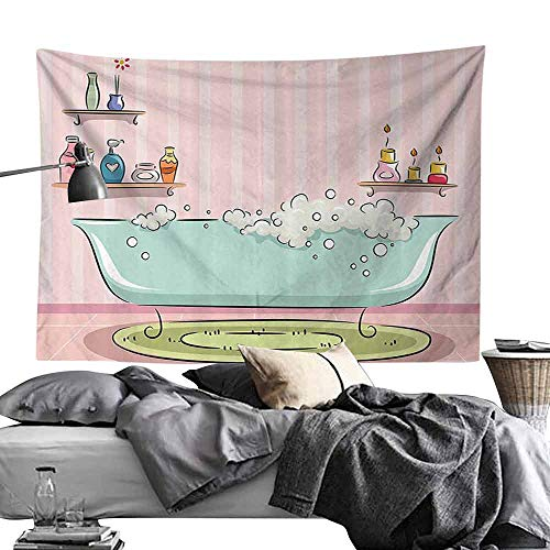 - Homrkey Decorative Tapestry Teens Girls Women Decor Collection Illustration of Bathtub with Bubbles in Girly Room Aroma Oil Lamps Aromatherapy Wall Hanging W24 x L20 Pink Blue