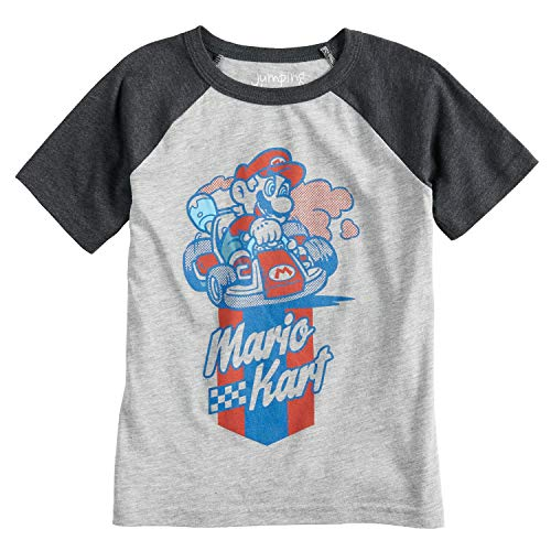 (Jumping Beans Boys 4-10 Nintendo Mario Bros. Mario Kart Graphic Tee 7 Heather)