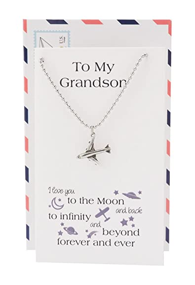 Amazoncom Quan Jewelry Grandson Gifts Airplane Pendant Necklace I