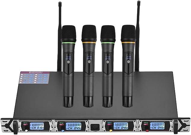 Muslady Micrófono Sistema 4 Canales UHF Inalámbrico 4 Micrófonos de Mano + 1 Receptor de Montaje en Bastidor D4 Profesional para Reunión de Negocios ...
