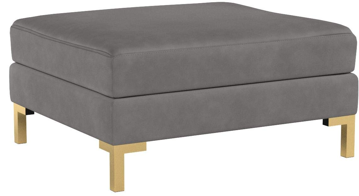 Iconic Home Girardi Modular Chaise Ottoman Coffee Table Cushion Velvet Upholstered Solid Gold Tone Metal Y-Leg Modern Contemporary, Grey by Iconic Home