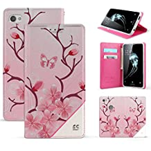 Trishield Gear Alcatel Idol 5, Nitro 5 Case, [Infolio] Slim Synthetic Leather Invisible Magnetic Closure Flip Wallet Cover For Alcatel 6060C With Kickstand Feature Card Slot Cherry Blossom