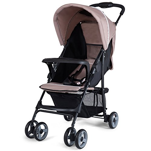 Costzon Lightweight Baby Stroller, Foldable Stroller with 5-Point Safety System and Multi Position Reclining Seat (Coffee) by Costzon