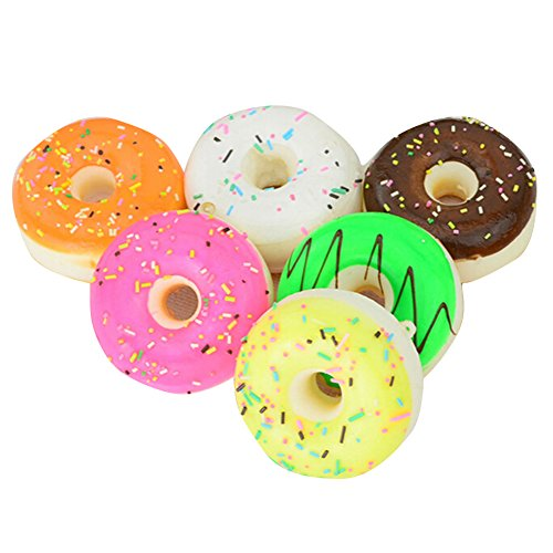 Giveme5 Pack of 3 Cute Donuts Soft Squishy Charms Colorful Cell Phone Key Chain Bag Straps 5cm - (Color Random)