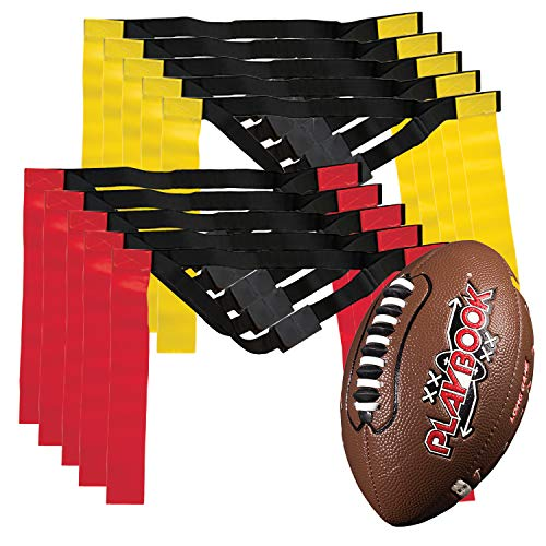 Franklin Sports Flag Football Flags and Ball Set – Flag Football Belts and Football for Kids – Full Youth Flag Football…