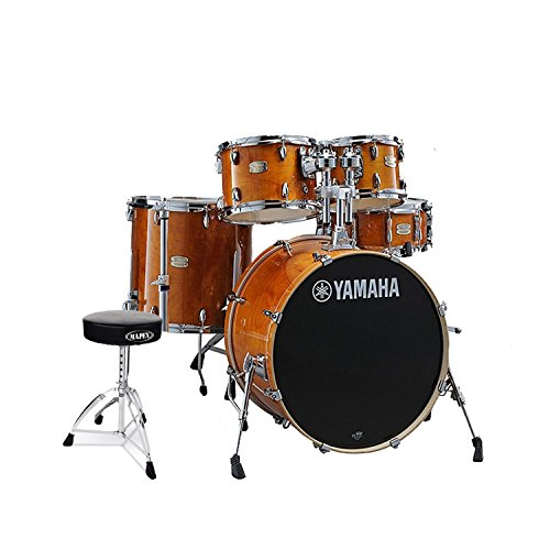 Rack Tom Birch Shell - Yamaha SBP2F50HA Stage Custom Birch Acoustic 5-Piece Shell Drum Pack Set in Honey Amber Finish with Double Brace Round top Drum Throne