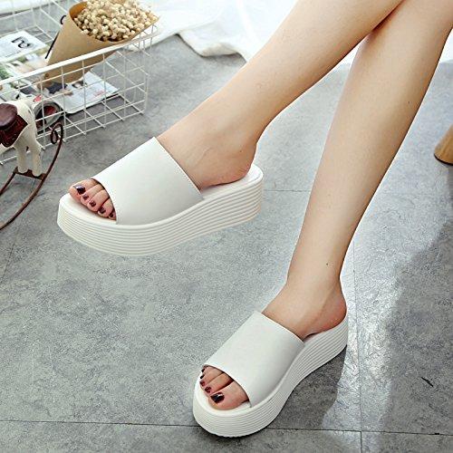 Sandalias Arrastra Playa De Una Se Talud Hembra Grueso Con Nuevas Sandalias white De Plataforma Zapatos GTVERNH Fondo qtZIw6nE