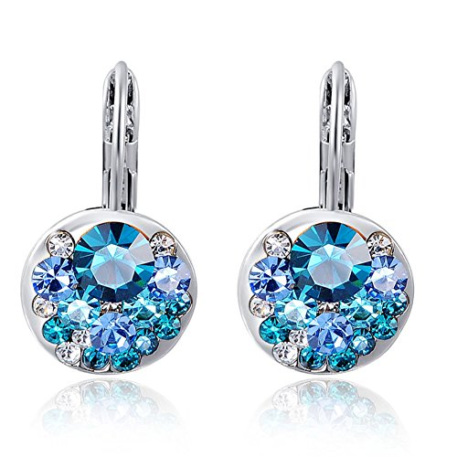 Fajewellery Blue Austrian Crystal Earrings White Gold Plated Drop Leverback Earrings for Women (Blue)