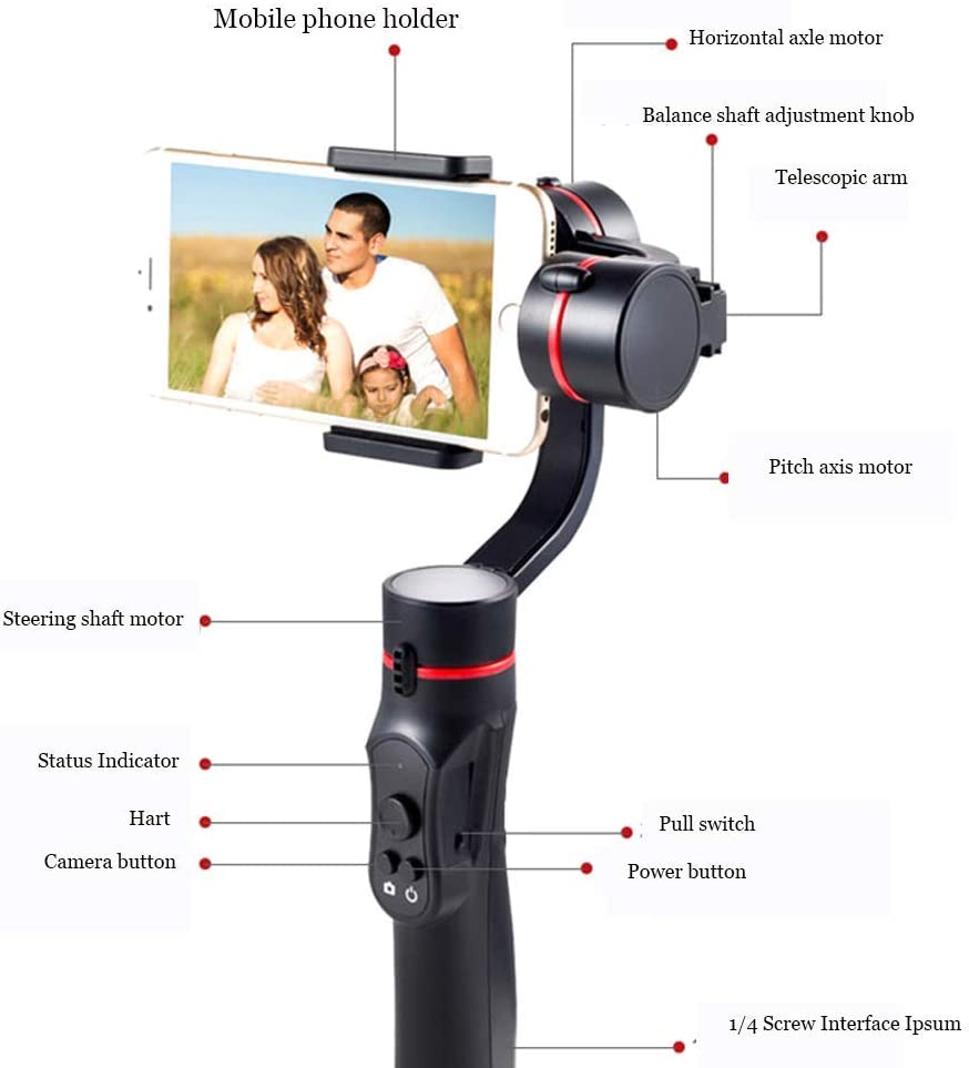 Shoplease Smartphone 3-Axis Handheld Gimbal Stabilizer Compatible with IOS and Android