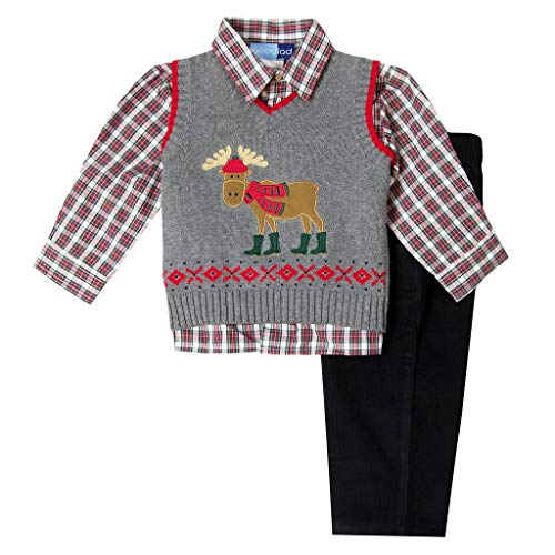 Good Lad Toddler and 4/7 Boys Moose Appliqued Holiday Sweater Set (4) Gray