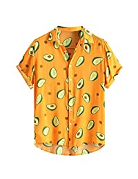 Jugendhj Mens Funny Printed Turn Down Collar Short Sleeve Casual Shirts
