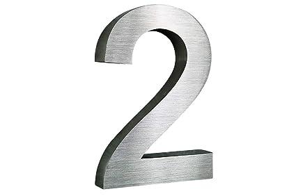 Número de casa, acero inoxidable V2A cepillado, diseño 3D, letra Arial, tamaño XXL: 25 cm, alto: De 0 a 9 seleccionables, también letras.