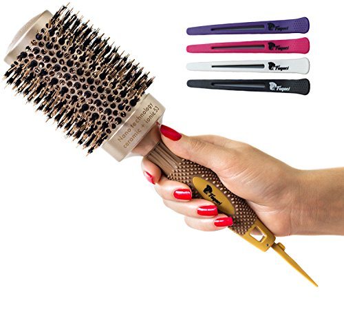 Brush Clips - Fagaci Round Brush for Blow Drying with Natural Boar Bristle, Professional Round Hair Brush Nano Technology Ceramic + Ionic for Hair Styling, Drying, Healthy Hair and Add Volume + 4 Styling Clips
