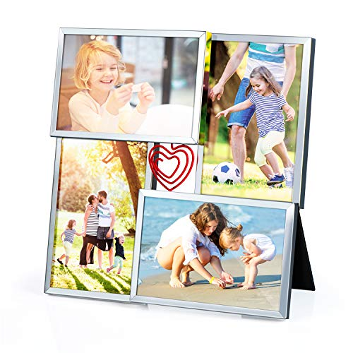 Love-KANKEI Decorative Collage Picture Frame Made of Metal & Fiberboard & Glass for Table Top Display Photo Frame 4-Openning