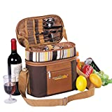 APOLLO WALKER Picnic Baskets Tote for 2 Person with Insulation Layer Suitable for Picnic,Outdoor Activities(Coffee)