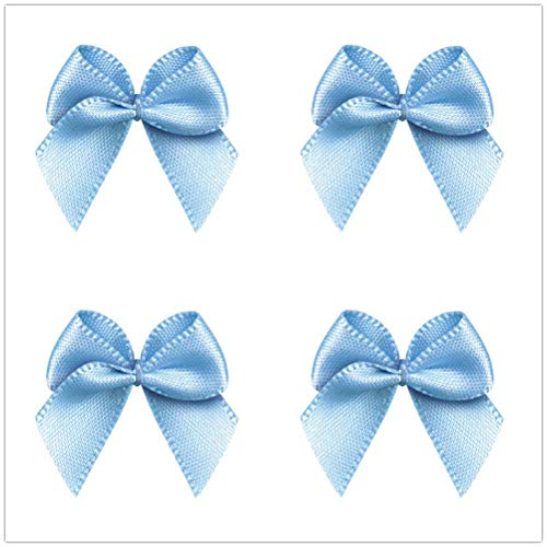 50pcs Mini Satin Ribbon Bows Ribbon Flowers 25mm x 26mm Appliques DIY Craft for Sewing, Scrapbooking, Wedding, Gift (Light Blue) ()