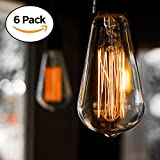 Edison Bulb, CMYK 60w Filament Long Life Vintage Antique Style Incandescent Amber Glass Light Squirrel Cage Design E26 Medium Base Lamp (6 Pack) for Chandeliers Wall Sconces Pendant Lighting