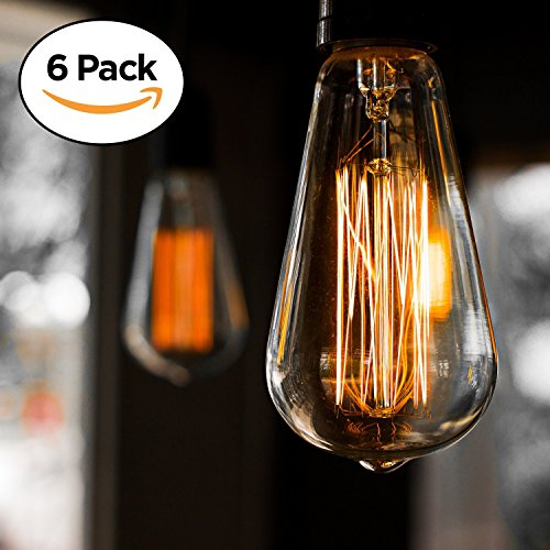- 6-Pack Vintage Edison Filament Light Bulb - ST64 - Dimmable - by Newhouse Lighting, Medium (E26) Standard Base E27 - Squirrel Cage