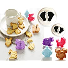 (set of 6)The Easiest Baby feet Cookie Ever Cutter Set,Baby bottles, baby clothes, strollers, Trojans cookie cutter mold , Cup Cake Decorating Gumpaste fondant mold
