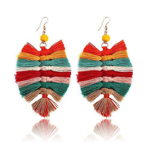 Beaded Tassel Earrings for Women - Statement Handmade Beaded Fringe Dangle Earrings, Idea Gift for Mom, Sister and Friend (Z-Color)