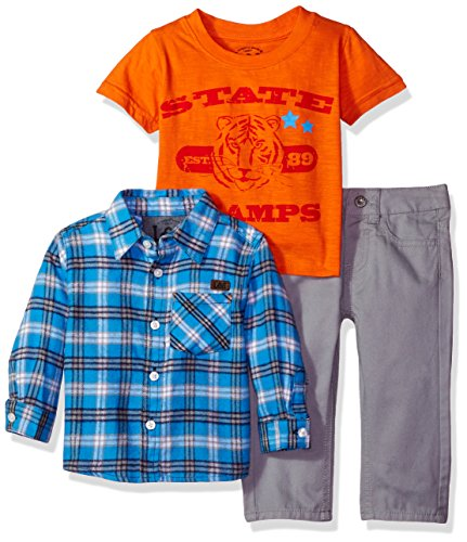 Lee Baby Boys' State Champs Flannel Shirt 3 Piece Pant Set, Sleet, 18 Months